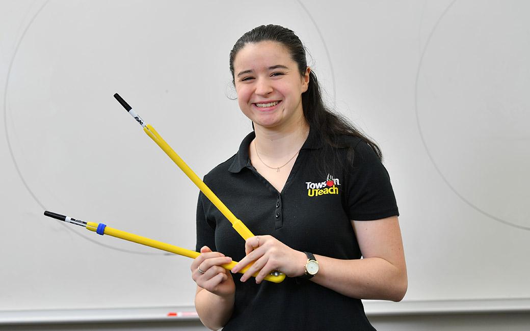 Rachael Talbert with math prop