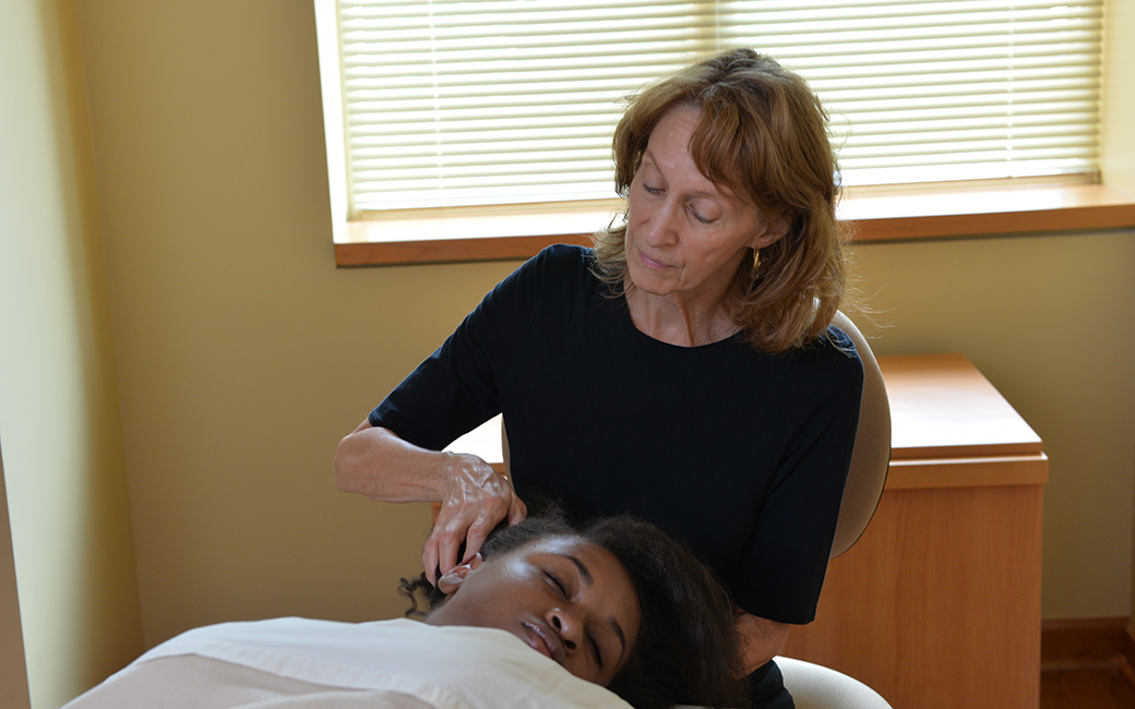 A student recieving a massage