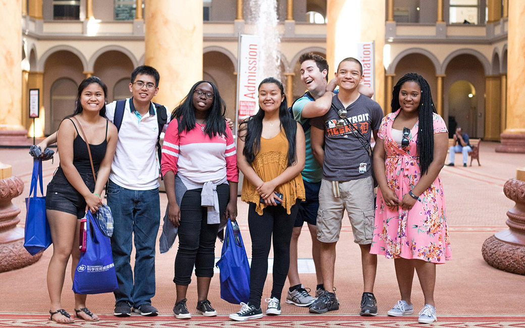 Honors students visiting the National Building Museum