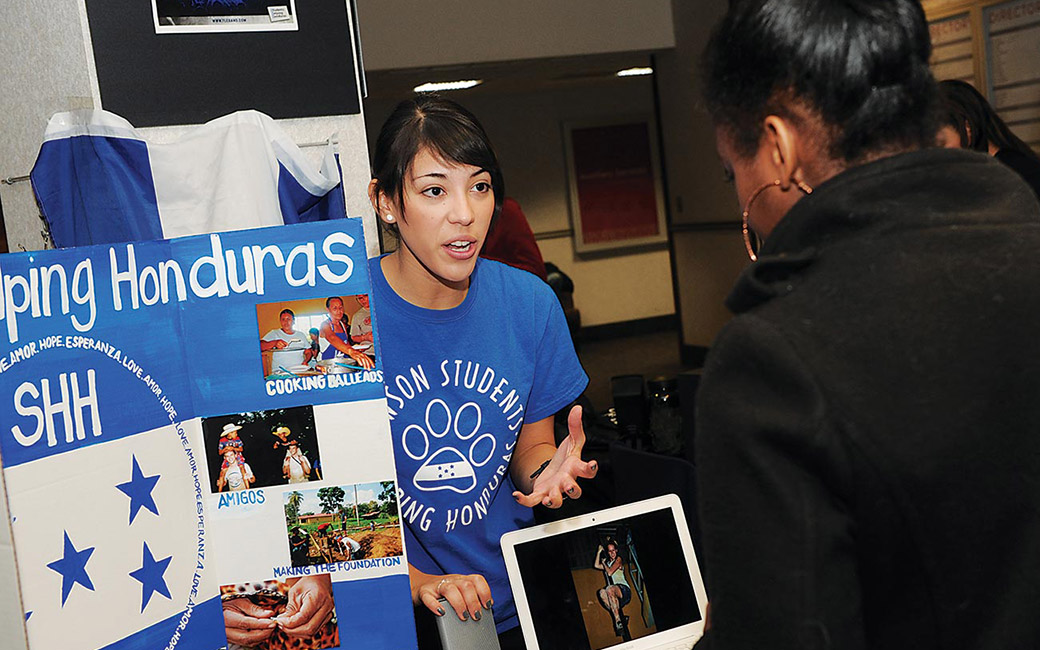 student promoting helping honduras