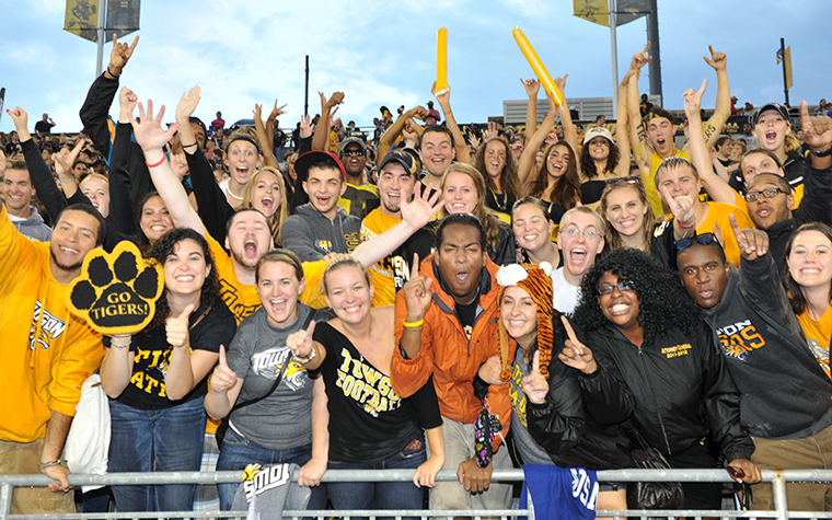 Towson University crowd at at football game.