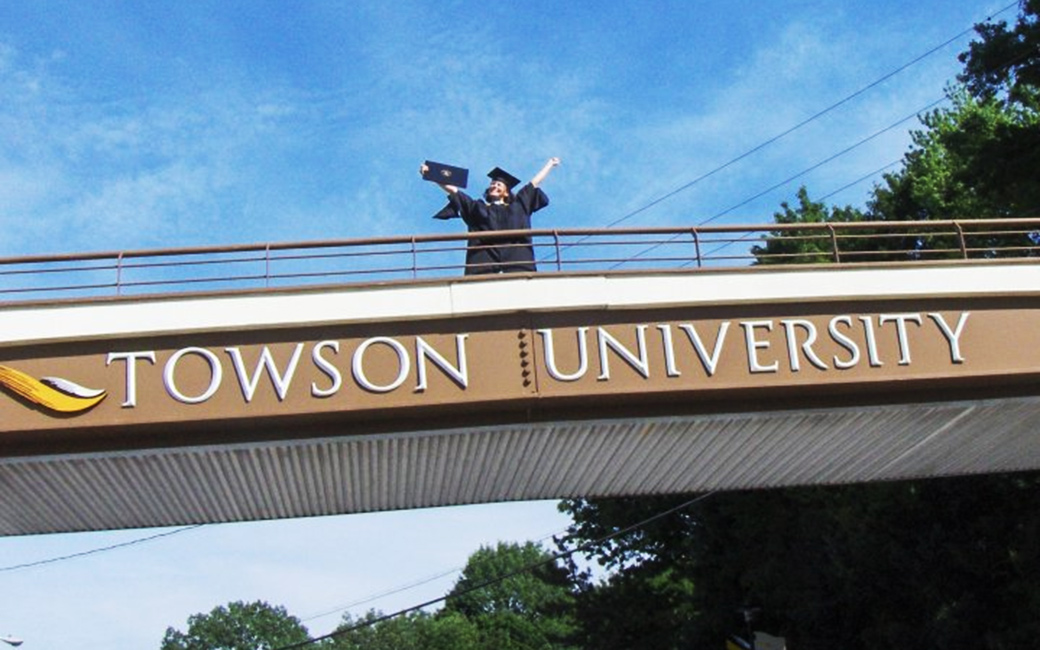 Graduate on the Towson Bridge