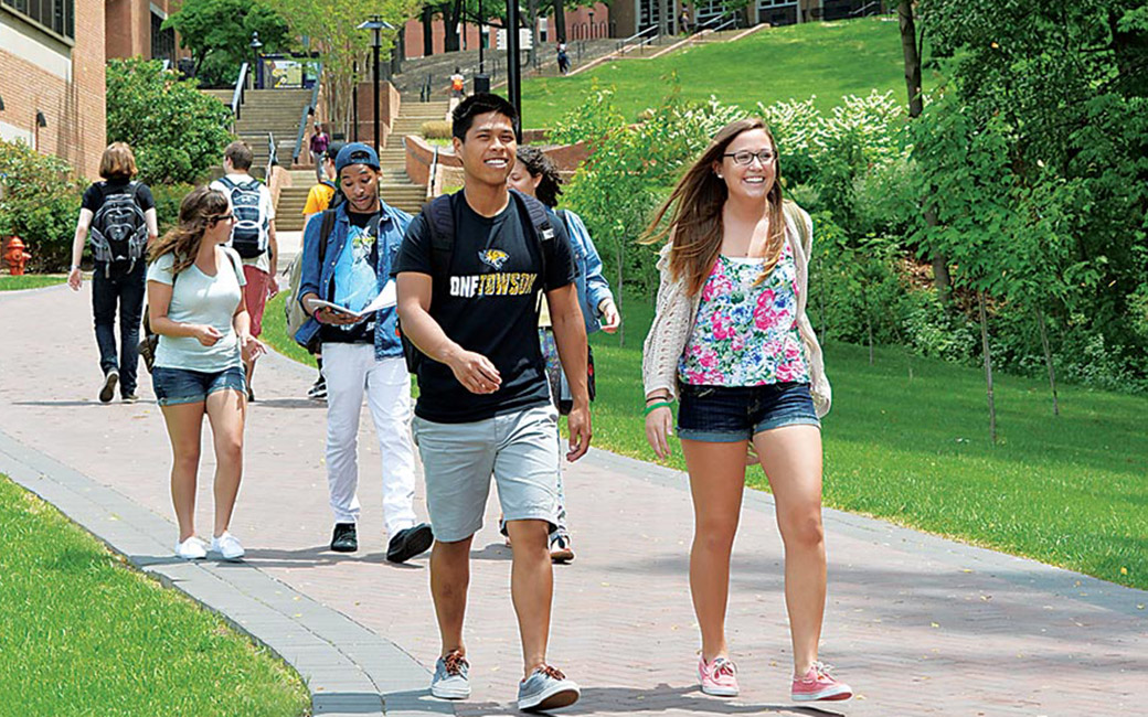 Campus students walking