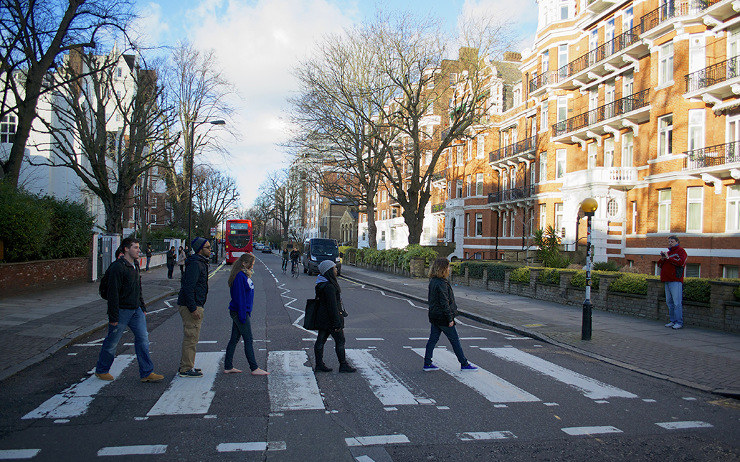 Students Crossing Street in UK