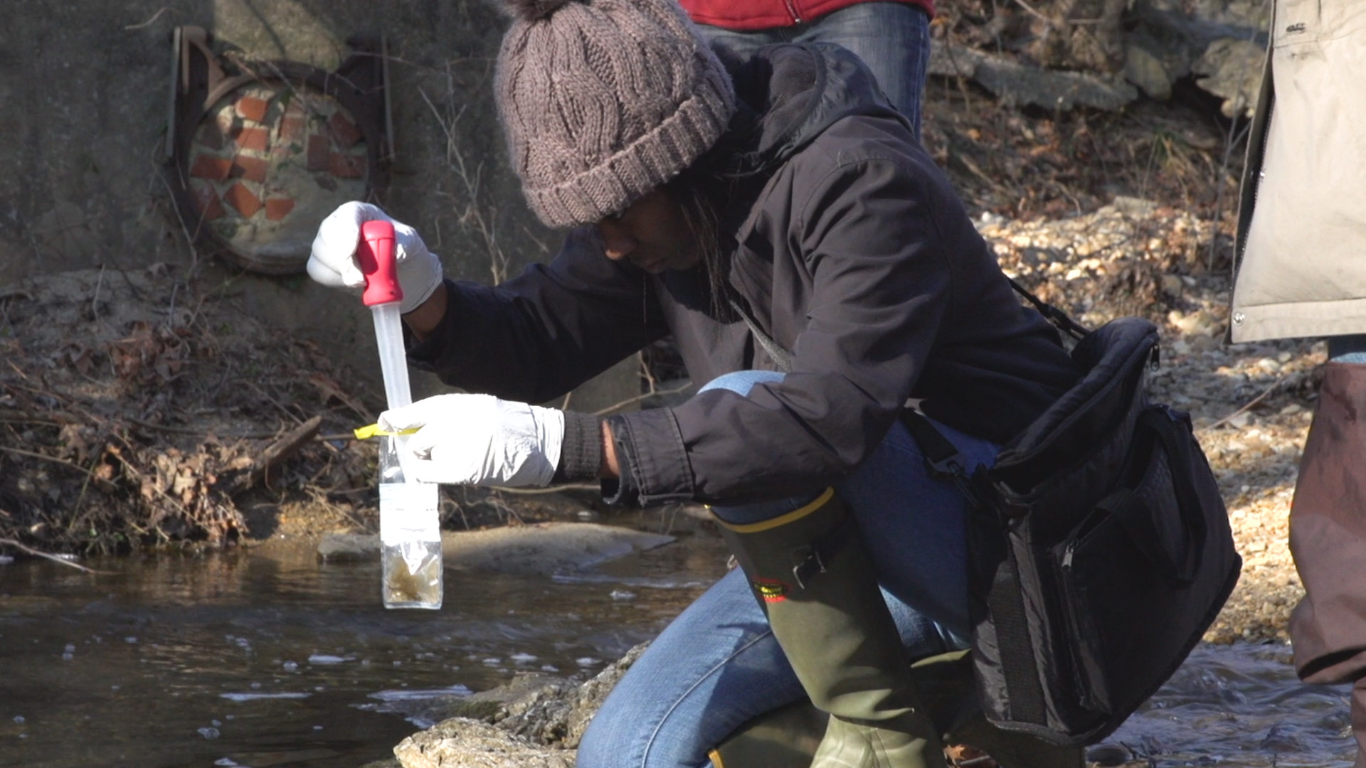 Video of TU student collecting water from local watershed