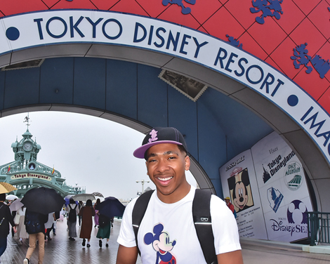 Darnell Williams in front of Tokyo Disney