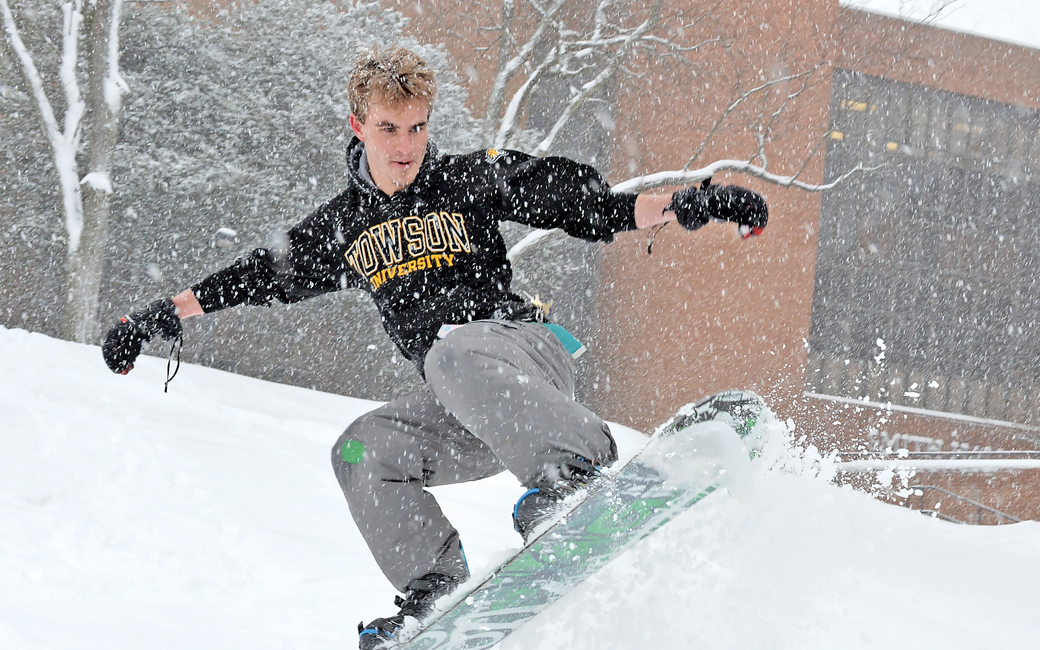 a snowboarder at TU