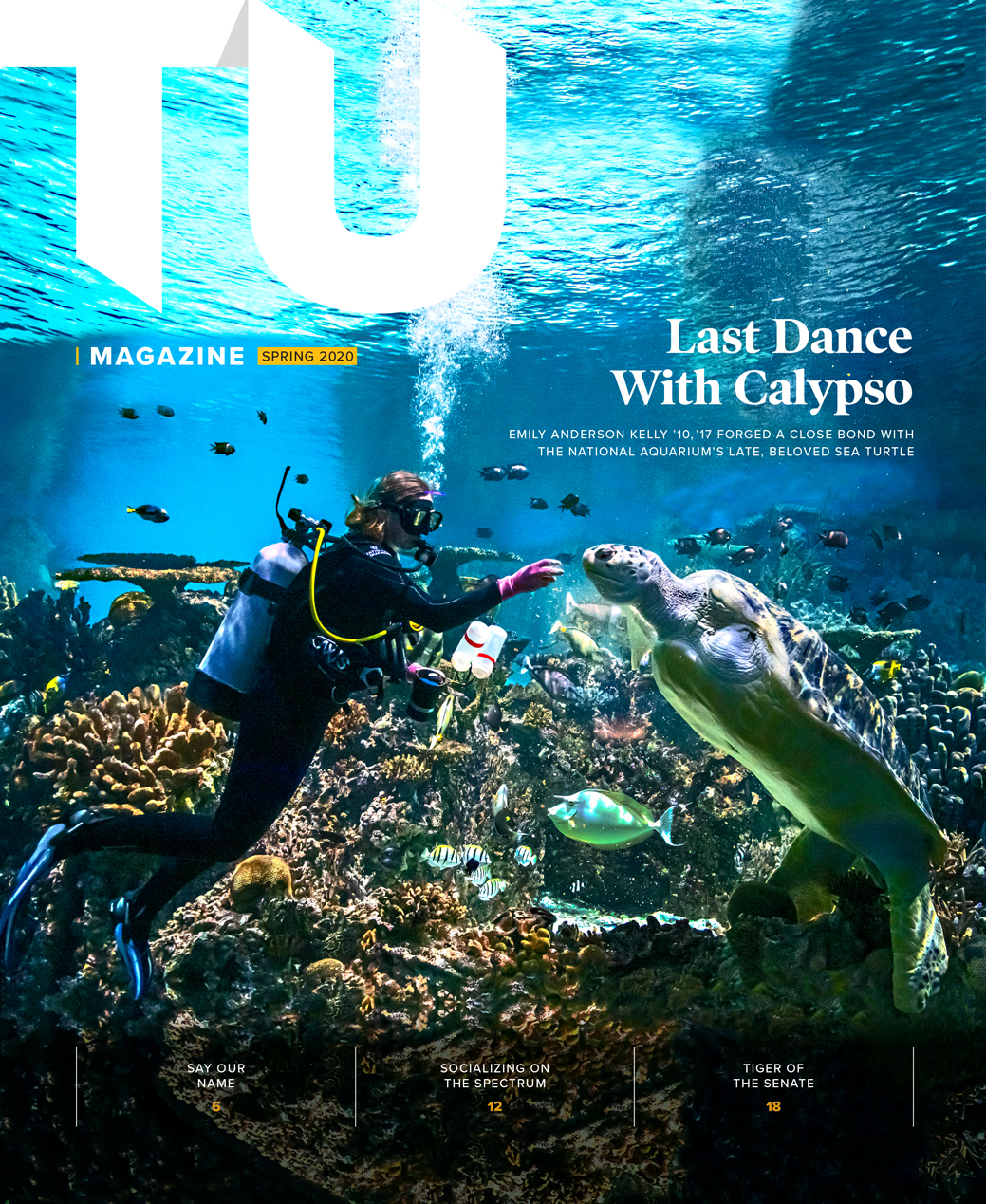 TU Magazine cover spring 2020. Last Dance with Calypso. Emily Anderson Kelly forged a close bond with the National Aquarium's late beloved sea turtle.
