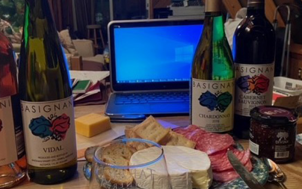 wine bottles, laptop, food containers