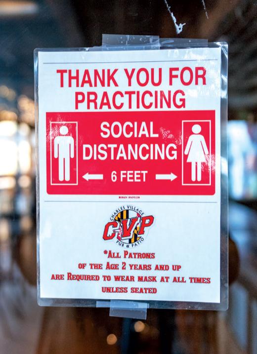 Social distancing sign at CVP