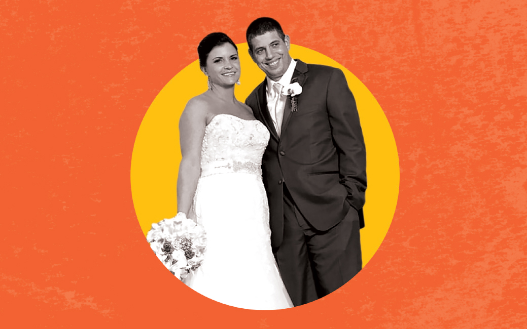 Black and white image of a white woman and man in front of an orange circle