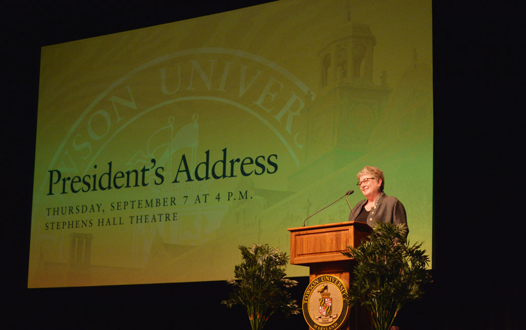 Towson University President Kim Schatzel delivered her annual fall address to a capacity crowd inside the Stephens Hall Theatre on Thursday, September 7.