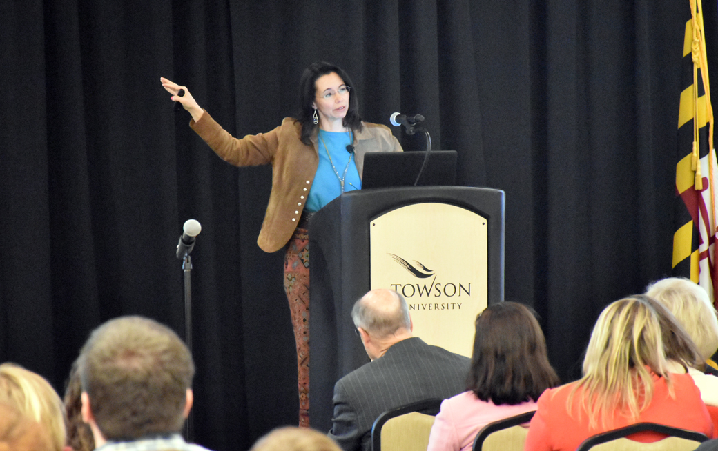 "Towson University professor Bethany Brand shares her presentation: Fight. Flight. Freeze. The Life-Long Implications of Childhood Stress and Trauma,"" at this week's Presidential Scholar Signature Forum."