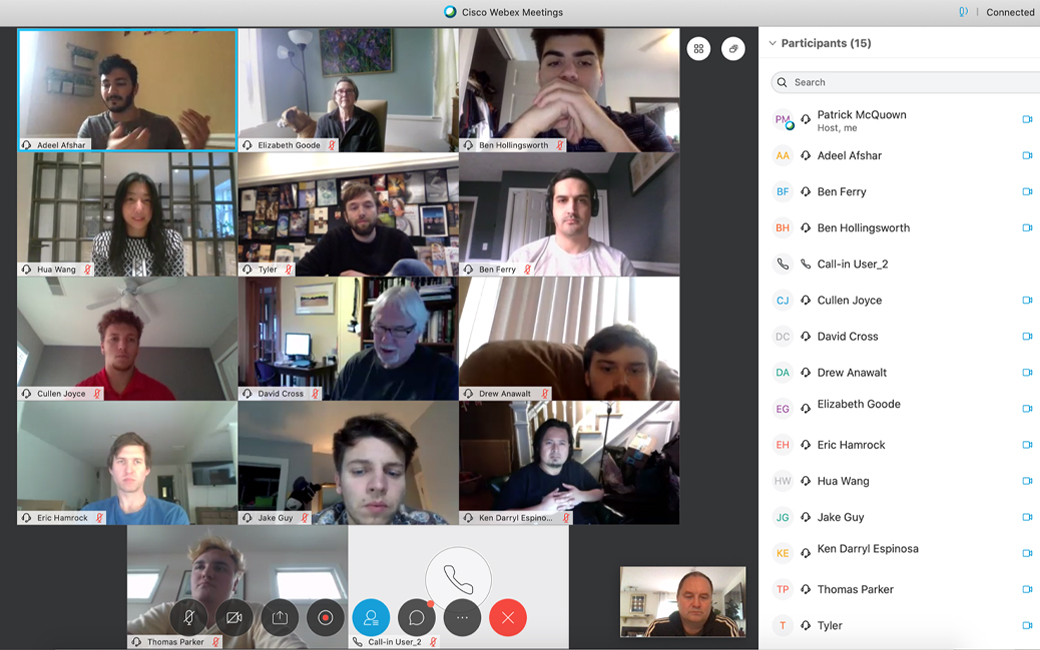 Member of the inaugural StarTUp Accelerator meet with each other for the first time through Cisco's WebEx Teams Video Conferencing