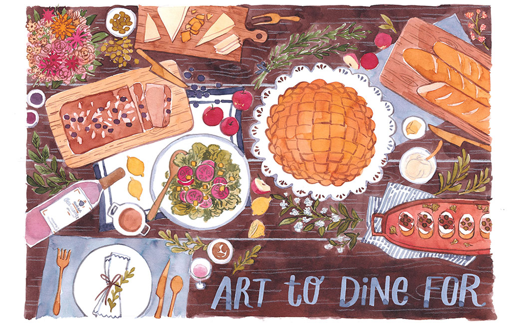 "Illustration of table from top view with food and drink with words ""Art to Dine For"""