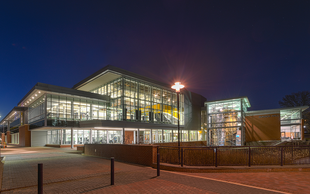 Burdick Hall exterior at night