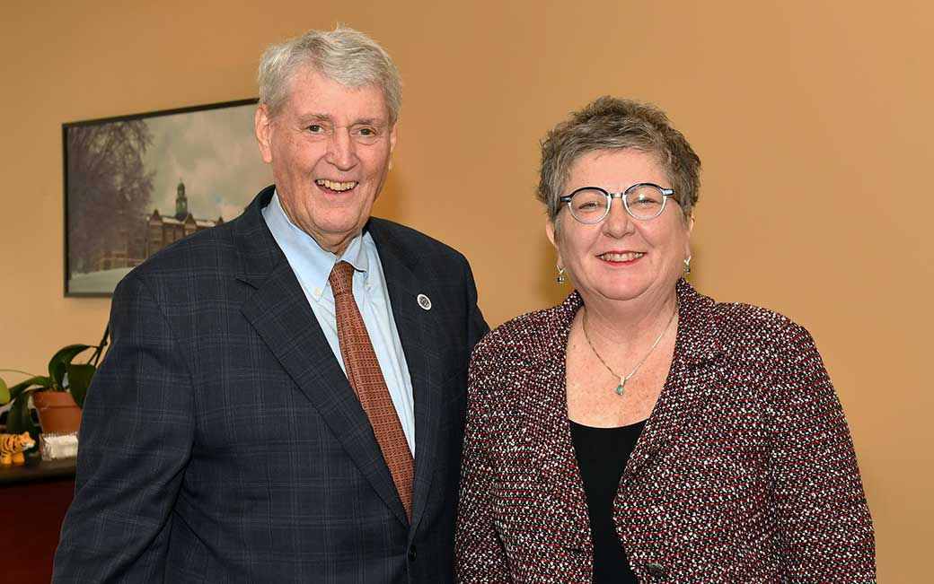 Maryland House Speaker Michael Busch with TU President Kim Schatzel
