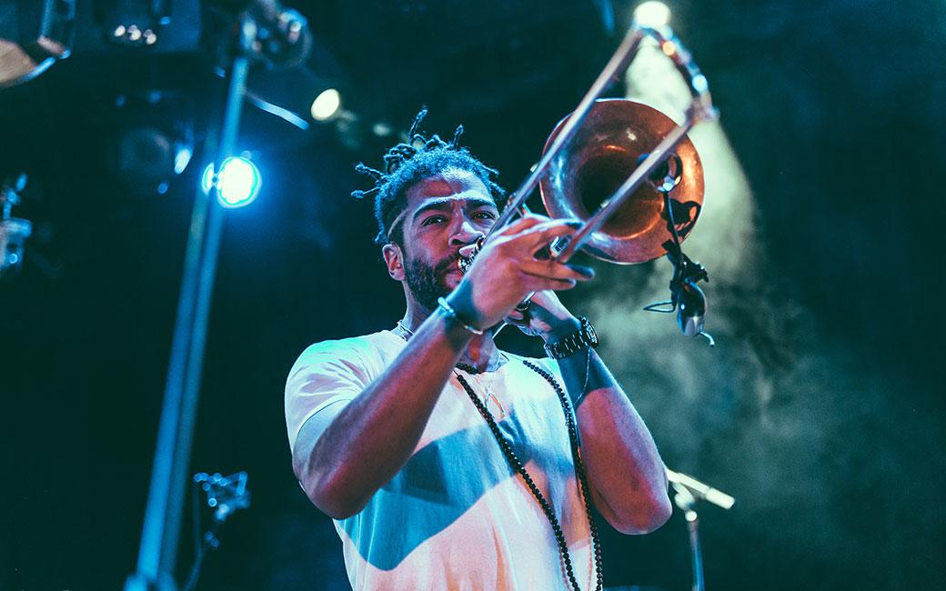 Man playing trombone on stage