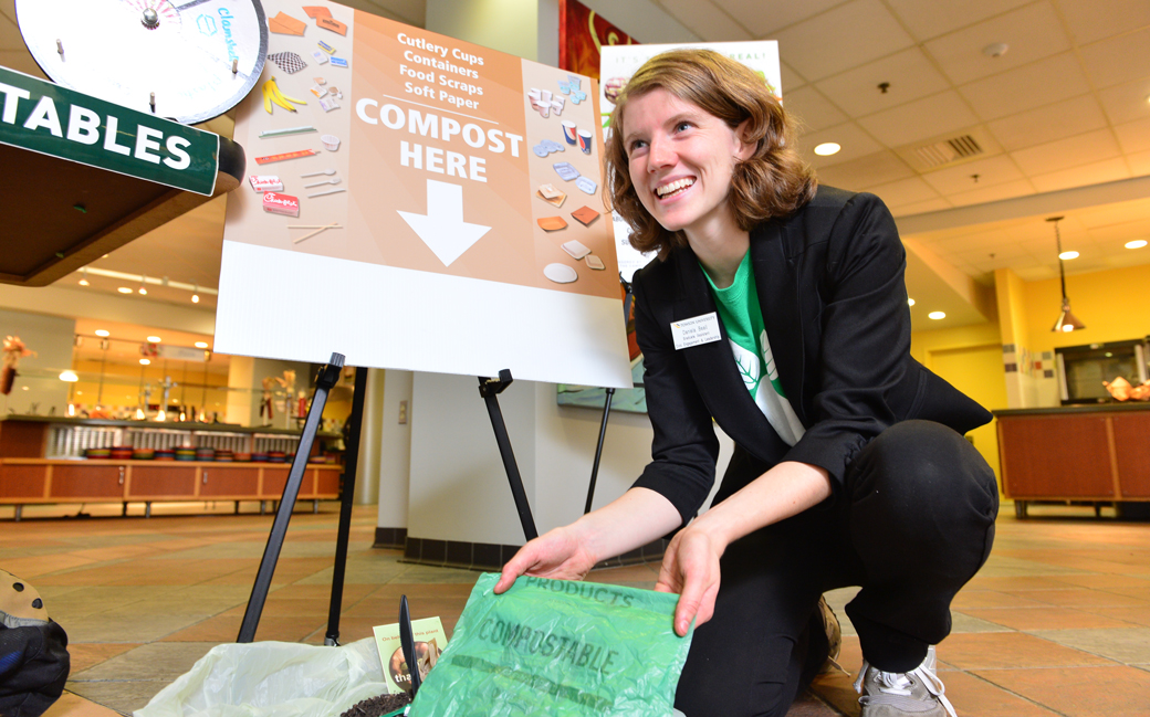Towson University graduate student Daniela Beall, shown participating in a sustainability program in 2015, currently works in the Office of Civic Engagement and Social Responsibility as a graduate assistant. She worked with the office to help Towson University become a campus partner in the National Wildlife Foundation's EcoLeaders program.