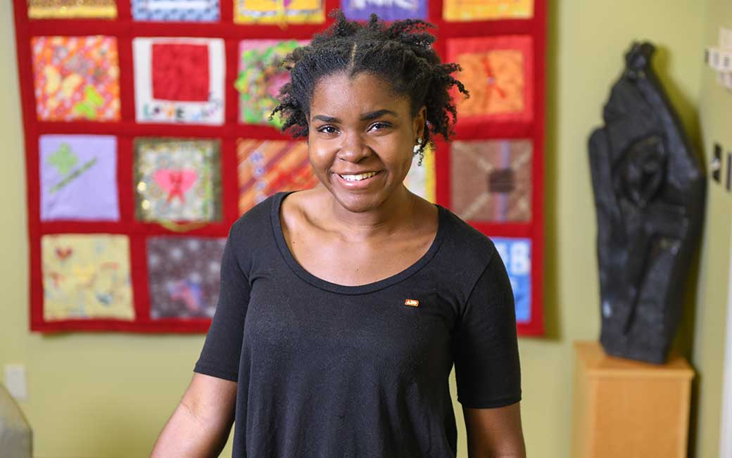 Elssa Kenfack, pictured in the Center for Student Diversity, where she is a SAGE mentor.