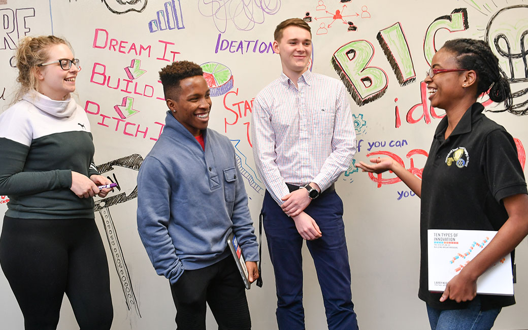 Student entrepreneurs in the Launch Pad have the opportunity to develop their ideas and business plans with the help of fellow students and entrepreneur mentors.