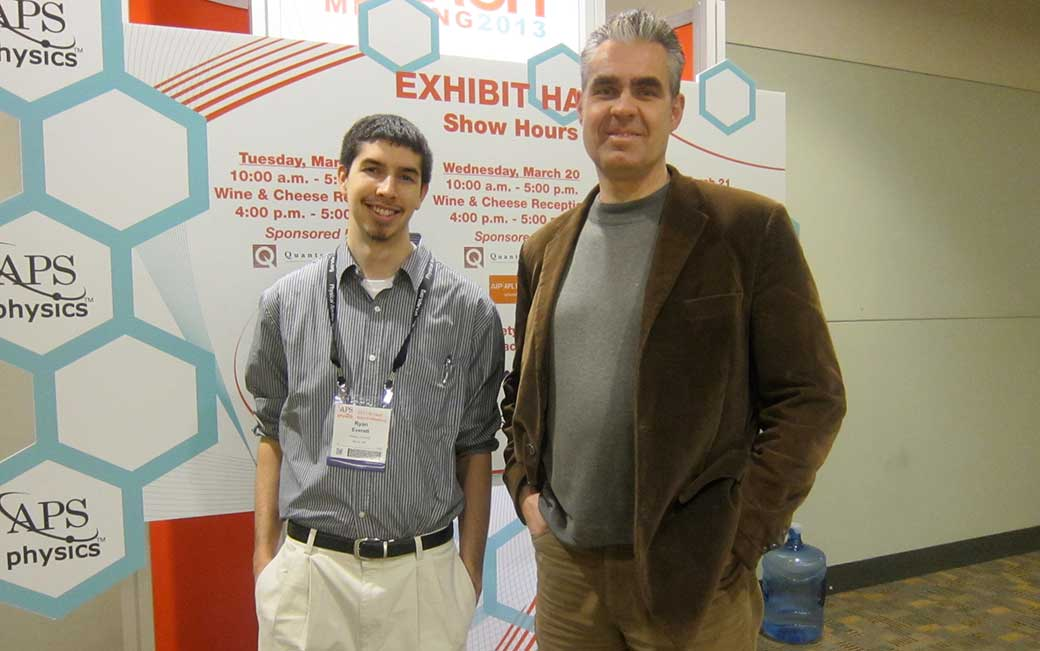 Ryan Everett '13 (left) with TU professor James Overduin, Ph.D.