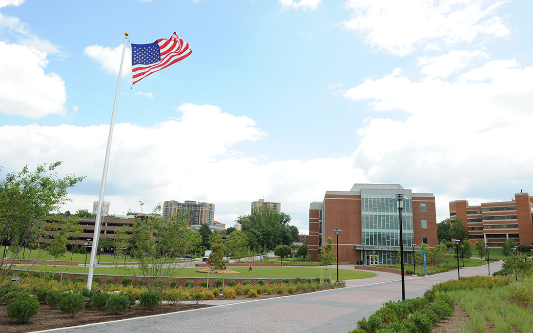 The American Flag, flying outside the University Union