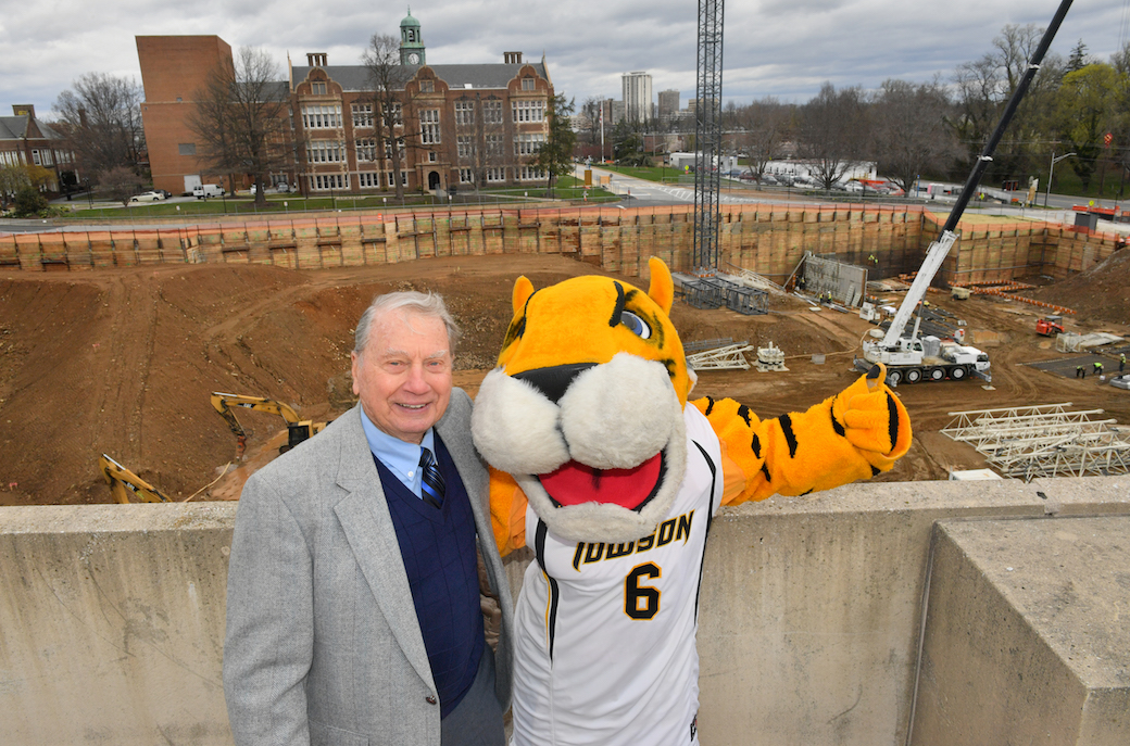 Howard Erickson with Doc the Tiger at the groundbreaking ceremony for the new science complex.