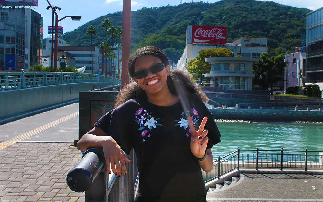 Jaime Smith in front of Mt. Bizan in Tokushima City