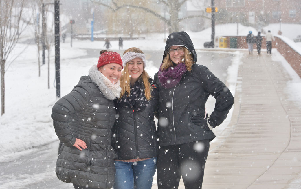 Students on a snowy day