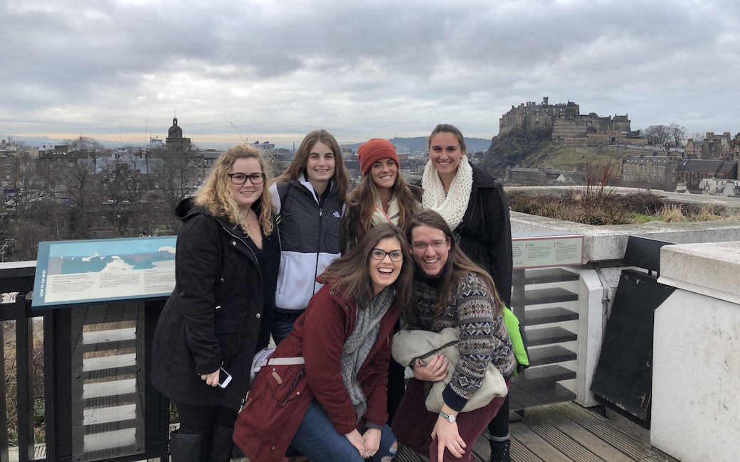 Lexi Littlefield (in orange hat) in Edinburgh with other students.