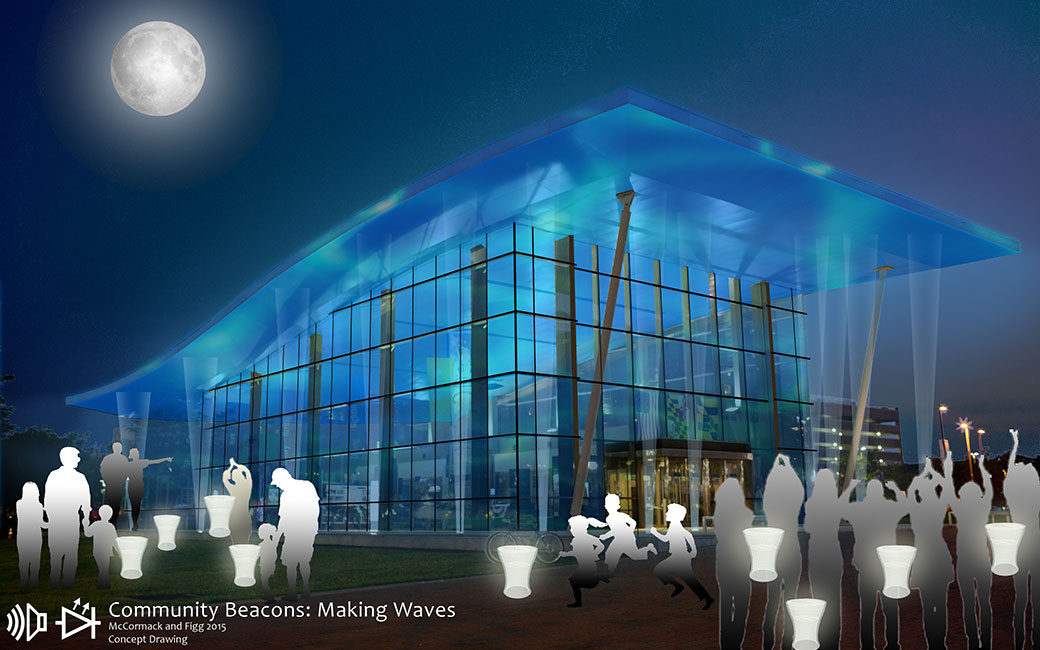 "A concept drawing for ""Making Waves,"" an exhibit by TU's Jenn Figg and Matthew McCormack."