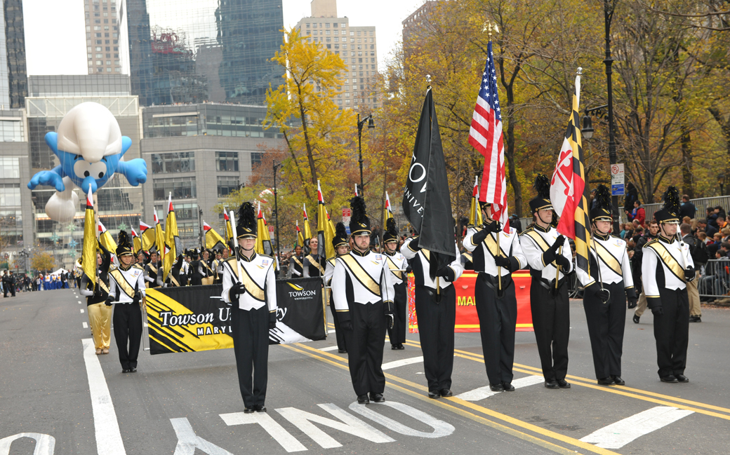 Towson University Marching Band in the Thanksgiving Parade