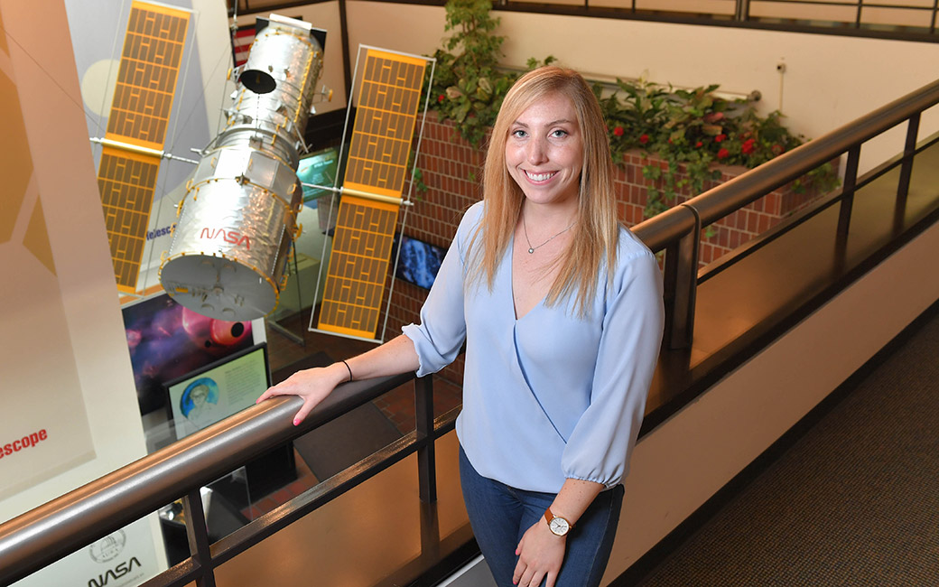 Meaghan McDonald and the model Hubble Space Telescope