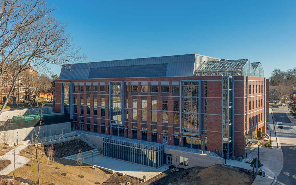 An image of the new Science Complex, pictured from the Glen Garage.