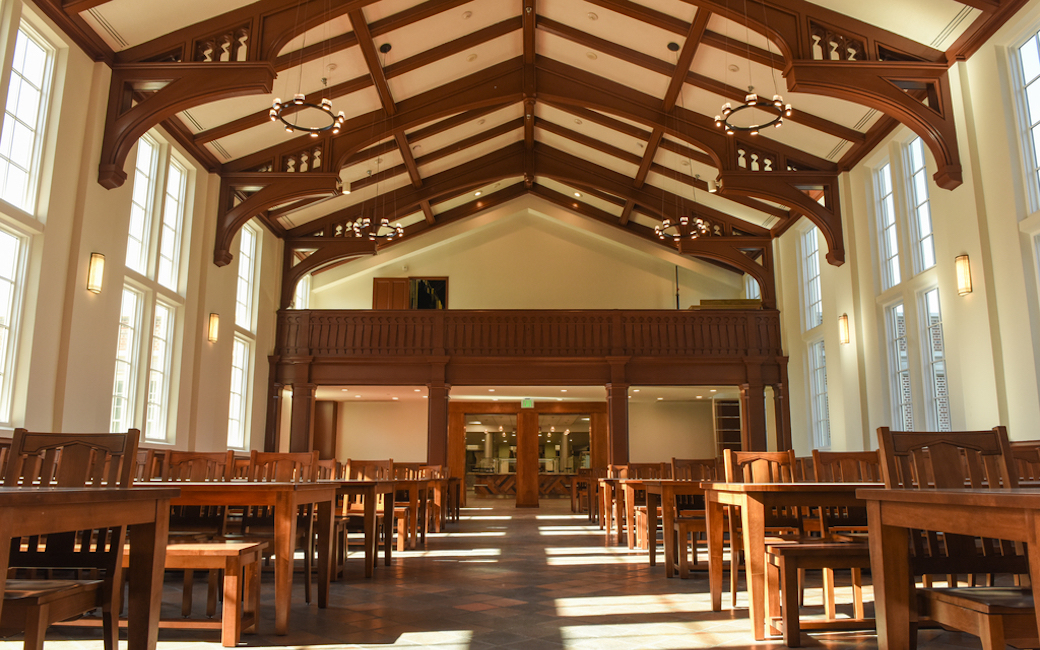 The renovated cathedral dining room inside Newell Dining Hall.