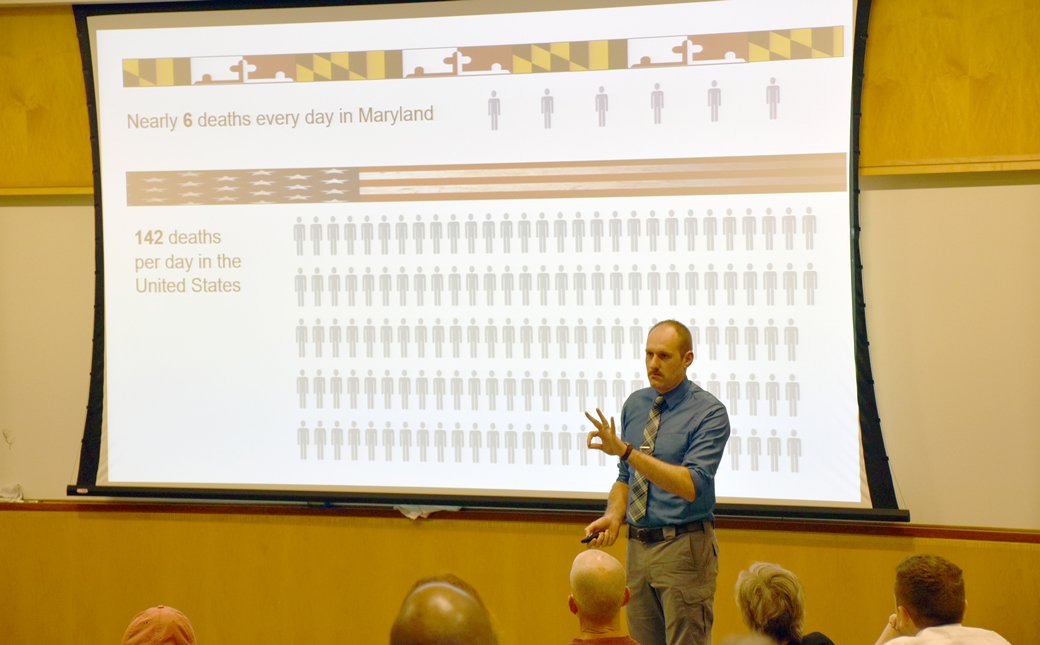 Birch Barron, deputy director of the Maryland Opioid Operational Command Center, shares statistics about Opioid Addiction during Thursday's Edward V. Badolato Distinguished Speaker Series at Towson University.