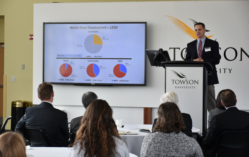 Peter J. Lisman, Ph.D., presents his research during the Towson University Public Health and Health Informatics Showcase. Lisman, who is an assistant professor in the Department of Kinesiology, was one of several TU faculty to demonstrate their research during the event.