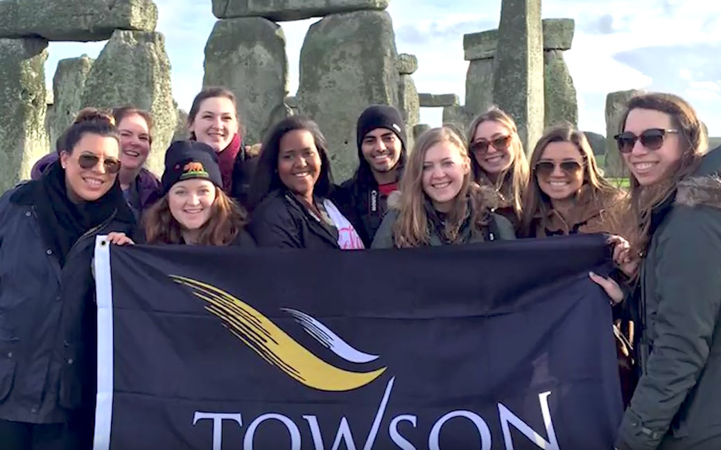 Video of Group of students with TU flag in front of Stonehenge