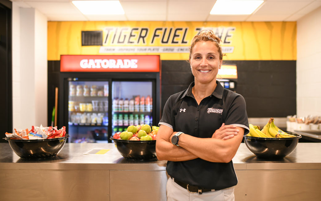 Towson Universirt Dietitian Christine Turpin at the Tiger Fuel Zone