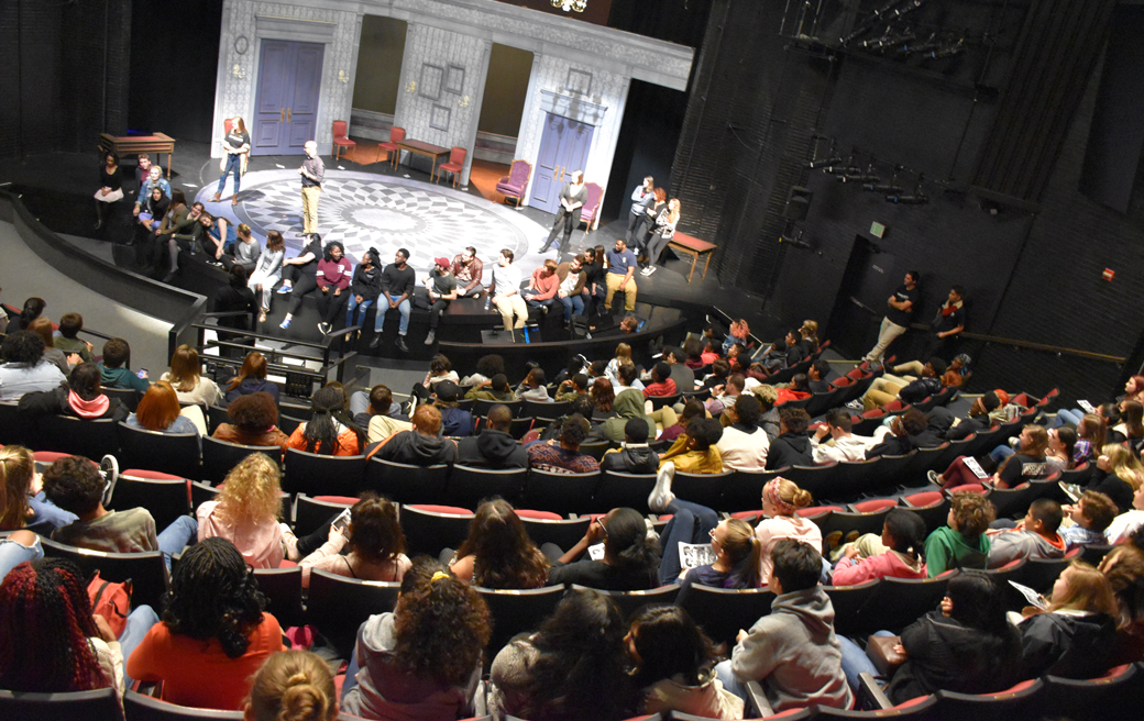 High School students from around Maryland participate in a special discussion with undergraduate students from Towson University's Department of Theatre Arts. The discussion was part of the Towson Theatre Infusion program.