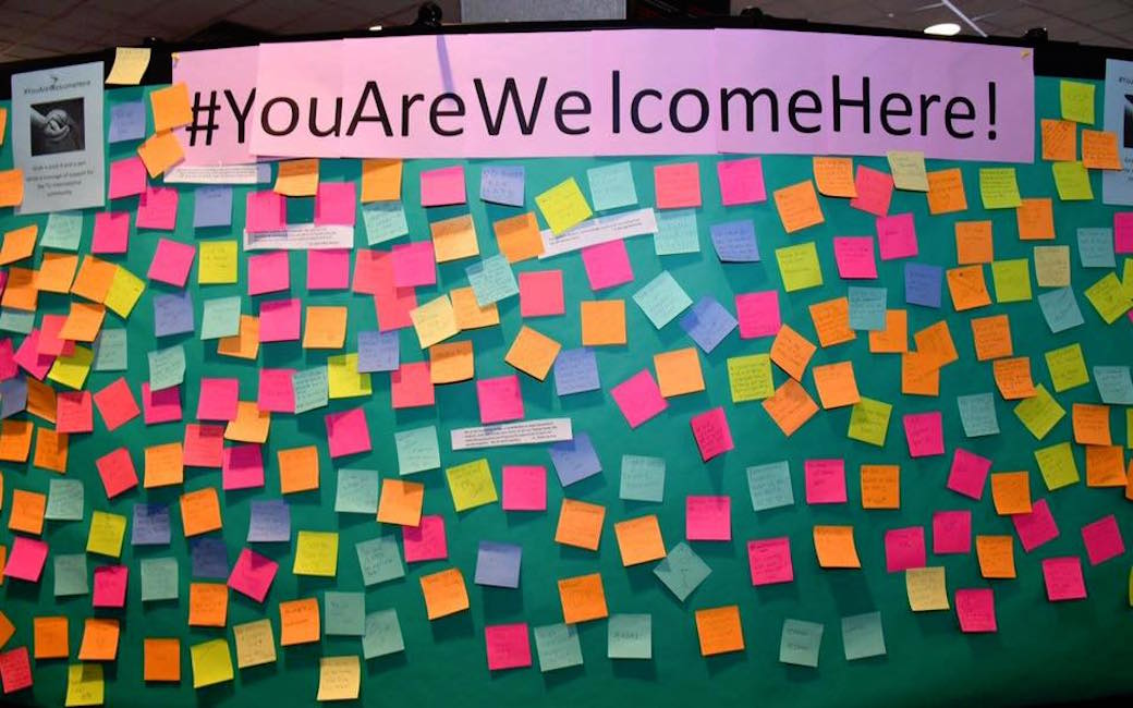 A board that displayed in Susquehanna Terrace during the event that contained post-it notes written by our students, faculty and staff to let all students know that #YouAreWelcomeHere.
