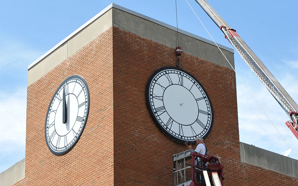 repair to clock on Psychology building