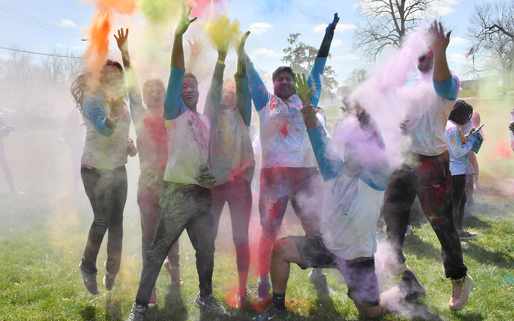 Students at the Holi Run