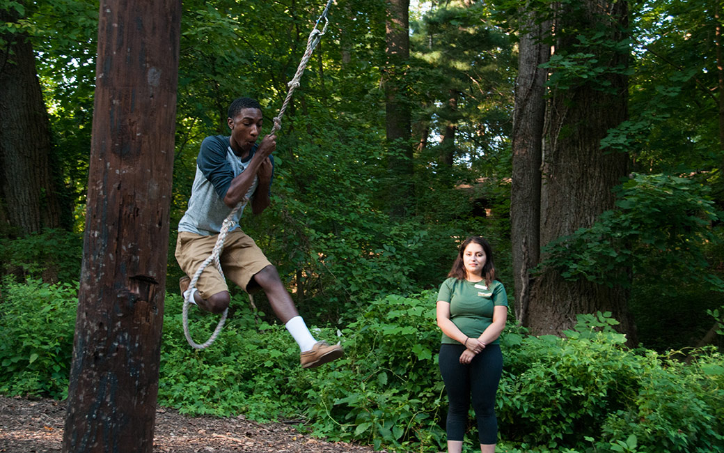 TU student participating on the Challenge Course