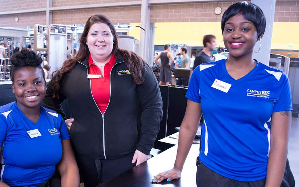 towson campus recreation student staff members