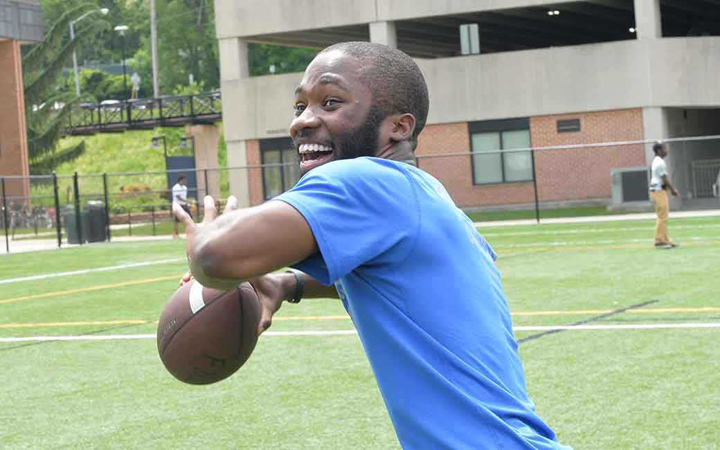 towson  student with rented football