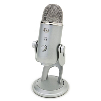 silver, capsule-shaped Blue Yeti USB microphone