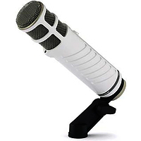 white, cylindrical Rode Pocaster USB microphone