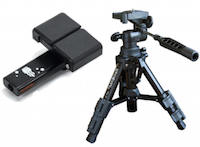 small black tripod with smartphone mount